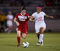 Desiree Scott (11) of FC Kansas City fights for the ball with Diana Matheson (8) of the Washington Spirit at the Maryland SoccerPlex in Boyds, MD. The Washington Spirit tied FC Kansas City, 1-1.