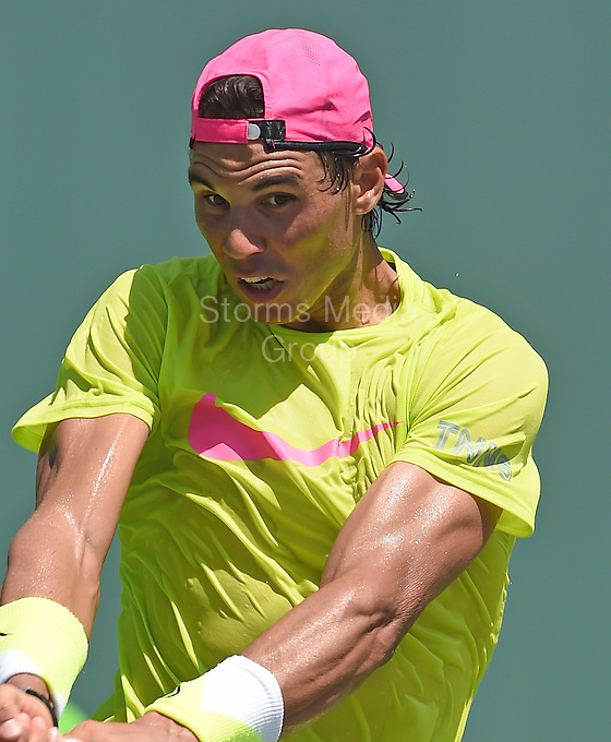 KEY BISCAYNE, FL - MARCH 24: Rafael Nadal on stadium court practicing during Day 2 of the Miami Open at the Crandon Park Tennis Center on March 24, 2015 in Key Biscayne, Florida.<br /> <br /> <br /> People:  Rafael Nadal<br /> <br /> Transmission Ref:  FLXX<br /> <br /> Must call if interested<br /> Michael Storms<br /> Storms Media Group Inc.<br /> 305-632-3400 - Cell<br /> 305-513-5783 - Fax<br /> MikeStorm@aol.com