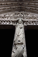 Portal of Saint Anne (detail), Notre Dame de Paris, 1163 ? 1345, initiated by the bishop Maurice de Sully, Ile de la Cité, Paris, France. Picture by Manuel Cohen