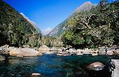 Cleddau river that runs alongside the road to Milford Sound, Fiordland National Park, South Island, New Zealand.