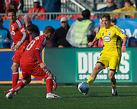 02 May 2009: Columbus Crew midfielder Alex Grendi #3 and Toronto FC midfielder Carl Robinson #33 in action at BMO Field in a game between the Columbus Crew and Toronto FC. .The game ended in a 1-1 draw...