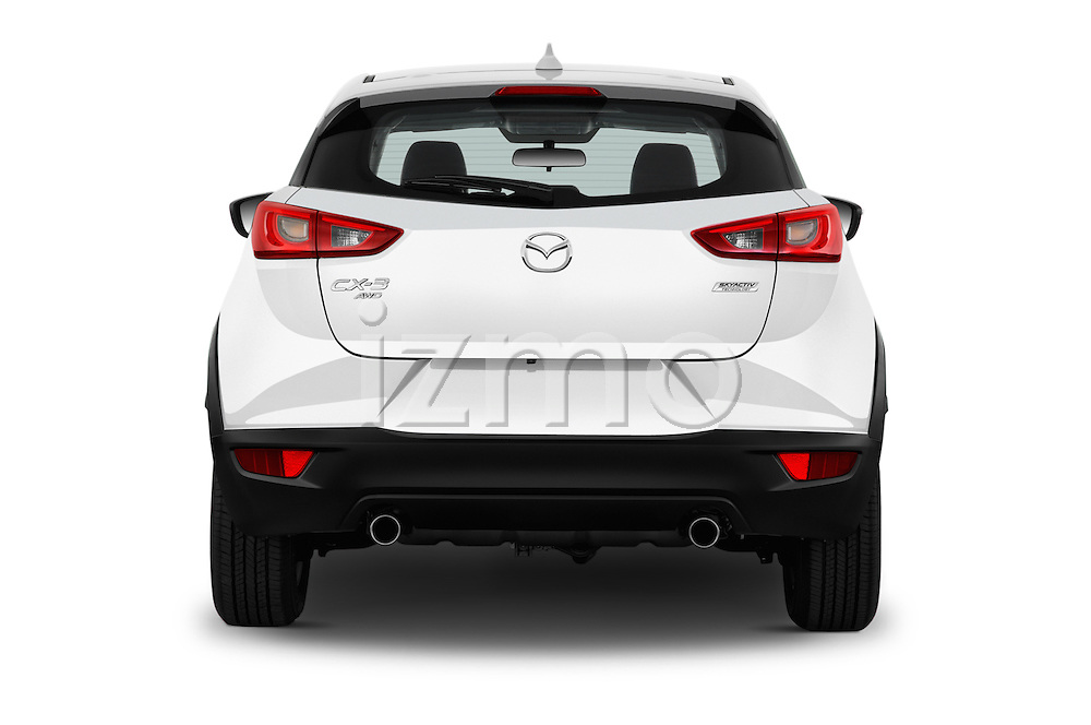 Straight rear view of 2016 Mazda CX3 Skydrive 5 Door Suv Rear View  stock images