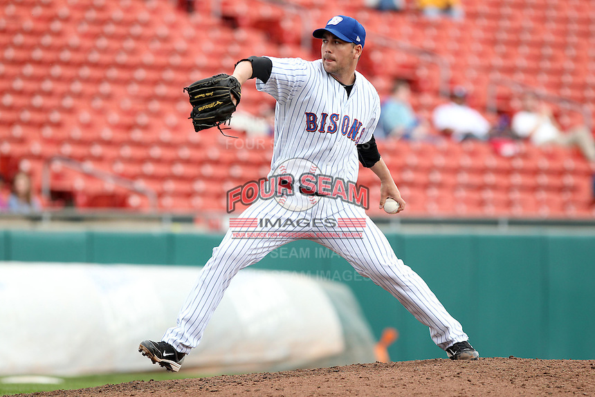 Buffalo Bisons relief pitcher Justin Hampson #40 delivers a pitch during a game against the Charlotte Knights at Dunn Tire Park on May 22, 2011 in Buffalo, New York.  Buffalo defeated Charlotte by the score of 7-5.  Photo By Mike Janes/Four Seam Images