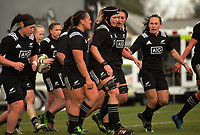 The Black Ferns celebrate Kendra Cocksedge's try during the 2017 International Women's Rugby Series rugby match between the NZ Black Ferns and Australia Wallaroos at Rugby Park in Christchurch, New Zealand on Tuesday, 13 June 2017. Photo: Dave Lintott / lintottphoto.co.nz