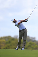 Carlos Del Moral (ESP) on the 18th during Round 1 of the ISPS HANDA Perth International at the Lake Karrinyup Country Club on Thursday 23rd October 2014.<br /> Picture:  Thos Caffrey / www.golffile.ie