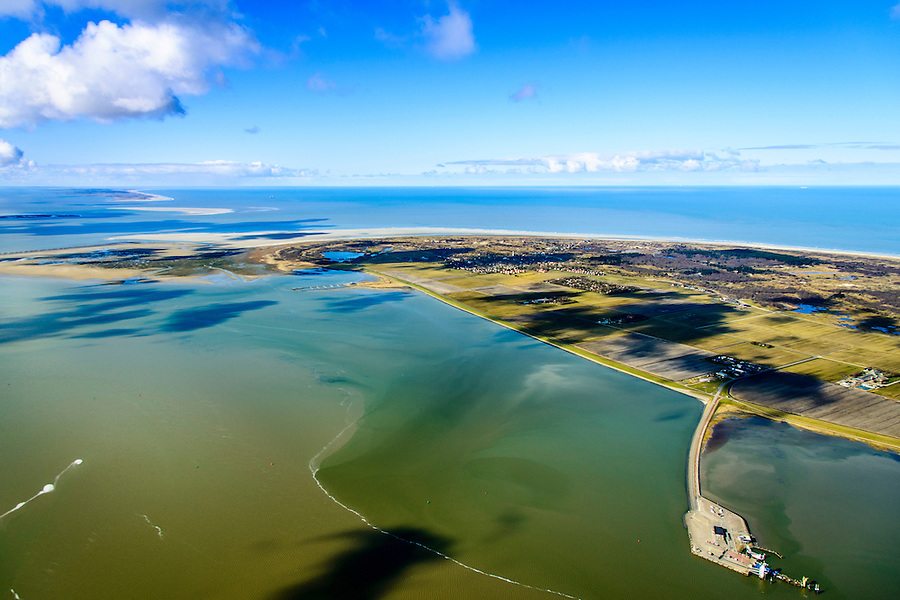 Nederland, Friesland, Schiermonnikoog, 28-02-2016; Schiermonnikoog met Banckspolder en veerdam in de voorgrond. Het dorp Schiermonnikoog op het tweede plan, Engelmansplaat, Het Rif en Ameland aan de horizon.<br /> Wadden island Schiermonnikoog, Wadden sea. <br /> luchtfoto (toeslag op standard tarieven);<br /> aerial photo (additional fee required);<br /> copyright foto/photo Siebe Swart