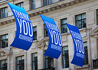 Large banners fly proudly in London's West End reading 'Thank You' . They are paying tribute to the work of the NHS during the Covid-19 pandemic and marking the health service's 72nd Anniversary London July 3rd 2020<br /> <br /> Photo by Keith Mayhew
