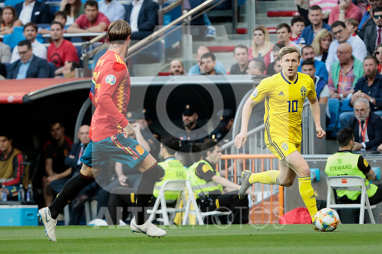 Spain national team player Sergio Ramos and Sweden national team player Emil Forsberg during UEFA EURO 2020 Qualifier match between Spain and Sweden at Santiago Bernabeu Stadium in Madrid, Spain. June 10, 2019. (ALTERPHOTOS/A. Perez Meca)