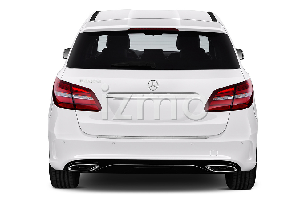Straight rear view of a 2018 Mercedes Benz B Class Base 5 Door Hatchback stock images