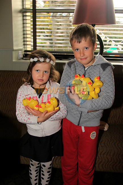 Finn and Eve Walsh at the Termonfeckin Celtic annual Duck Race<br /> Picture: www.newsfile.ie