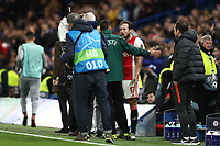 5th November 2019; Stamford Bridge, London, England; UEFA Champions League Football, Chelsea Football Club versus Ajax; Daley Blind of Ajax argues with the fourth official after being sent off - Editorial Use