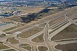 Aerial view of runways and taxiways at Dallas Fort Worth International Airport, DFW, Dallas, Texas
