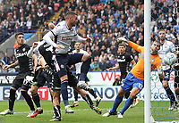 Bolton Wanderers' Gary Madine scores his sides first goal  <br /> <br /> Photographer Andrew Kearns/CameraSport<br /> <br /> The EFL Sky Bet Championship - Bolton Wanderers v Leeds United - Sunday 6th August 2017 - Macron Stadium - Bolton<br /> <br /> World Copyright &copy; 2017 CameraSport. All rights reserved. 43 Linden Ave. Countesthorpe. Leicester. England. LE8 5PG - Tel: +44 (0) 116 277 4147 - admin@camerasport.com - www.camerasport.com