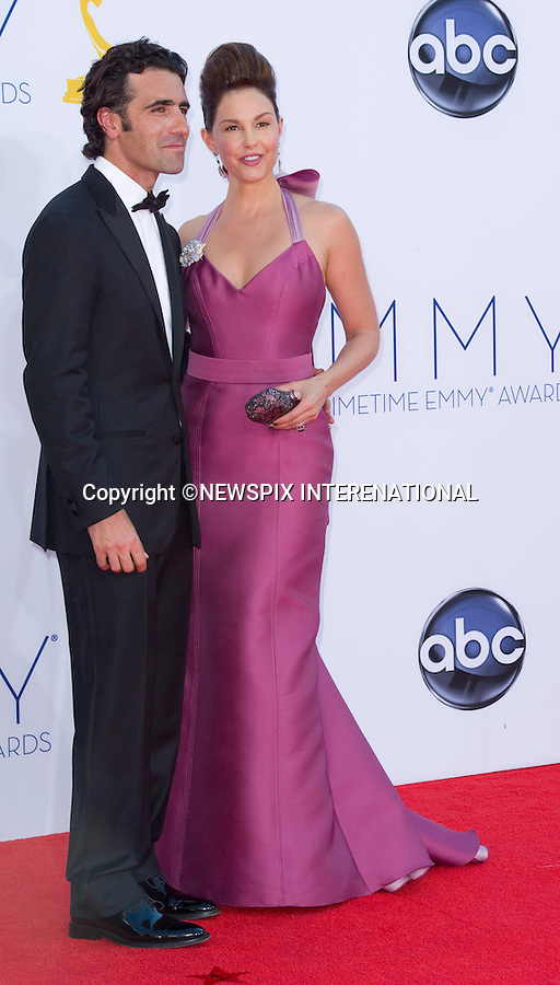 """ASHLEY JUDD AND HUSBAND DARIO FRANCHITTI - 64TH PRIME TIME EMMY AWARDS.Nokia Theatre Live, Los Angelees_23/09/2012.Mandatory Credit Photo: ©Dias/NEWSPIX INTERNATIONAL..**ALL FEES PAYABLE TO: """"NEWSPIX INTERNATIONAL""""**..IMMEDIATE CONFIRMATION OF USAGE REQUIRED:.Newspix International, 31 Chinnery Hill, Bishop's Stortford, ENGLAND CM23 3PS.Tel:+441279 324672  ; Fax: +441279656877.Mobile:  07775681153.e-mail: info@newspixinternational.co.uk"""