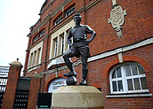 17th March 2018, Craven Cottage, London, England; EFL Championship football, Fulham versus Queens Park Rangers; Snow covering the Johnny Haynes statue outside Craven Cottage