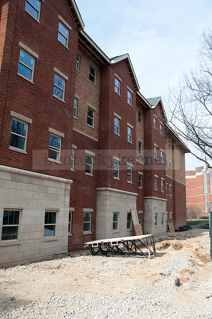 The outside of the new Central Hall dorm is taking shape as construction crews add brick and stone to the exterior of the dorm on March 20, 2013 in Lexington, Ky. .