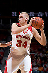 MADISON, WI - OCTOBER 24: Forward Greg Stiemsma #34 of the Wisconsin Badgers handles the ball during the red/white scrimmage at the Kohl Center on October 24, 2006 in Madison, Wisconsin. The White team defeated the Red team 72-69. (Photo by David Stluka)