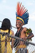 An indigernous contestant shares a joke with a non-indigenous member of the audience at the International Indigenous Games, in the city of Palmas, Tocantins State, Brazil. Photo © Sue Cunningham, pictures@scphotographic.com 31st October 2015
