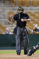 Home plate umpire Hal Gibson III during an Arizona Fall League game between the Glendale Desert Dogs and Peoria Javelinas on October 14, 2013 at Camelback Ranch Stadium in Glendale, Arizona.  Glendale defeated Peoria 5-1.  (Mike Janes/Four Seam Images)f