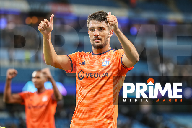 Leo DUBOIS of Olympique Lyonnais celebrates at the final whistle during the UEFA Champions League match between Manchester City and Olympique Lyonnais at the Etihad Stadium, Manchester, England on 19 September 2018. Photo by David Horn / PRiME Media Images.