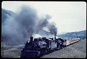 &quot;276-11 Double-header on rail fan special climbing out of Chama, NM.&quot;<br /> D&amp;RGW  Chama, NM  Taken by Owen, Mac - 6/1975