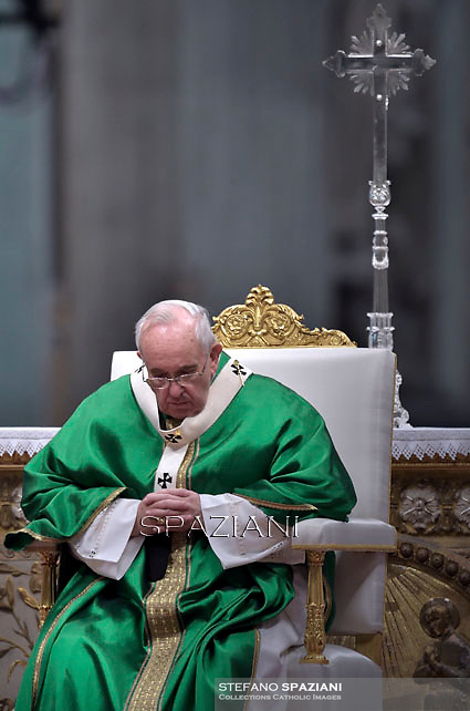 Pope Francis,  at St. Peter's Basilica in Vatican.during the mass New Cardinals on February 15 2015