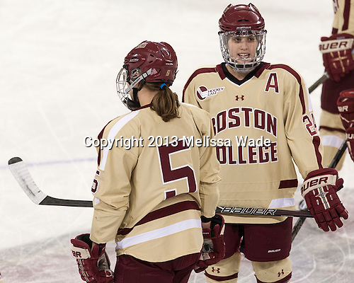 Meagan Mangene (BC - 24) - The Boston College Eagles defeated the visiting Harvard University Crimson 3-1 in their NCAA quarterfinal matchup on Saturday, March 16, 2013, at Kelley Rink in Conte Forum in Chestnut Hill, Massachusetts.
