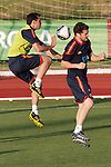 MADRID (24/05/09).- The Spanish Soccer national team has officially begun their hunt for the championship, arriving in the Madrid municipality of Las Rozas to begin preparing for South Africa World Cup.  Alvaro Arbeloa and Iker Casillas...PHOTO: Cesar Cebolla / ALFAQUI