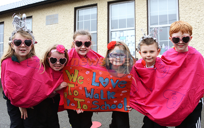 18/02/2014 – Collon NS Love Bug walk – from left: Kimberley Maguire, Kate Roe, Erin Donegan, Sinead Sarsfield, Lorcan Donegan and Sean Flynn. Photo: Andy Spearman. www.newsfile.ie www.newsfile.ie
