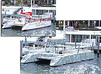 The Humongous Tinfoil Catamaran. Original boat and mockup of wrap.