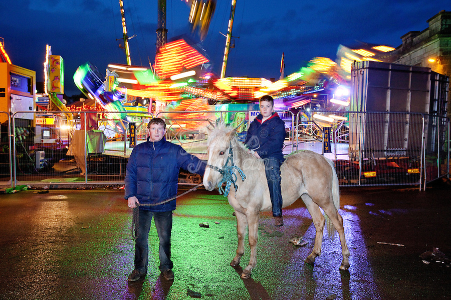 4/10/2010. Jack O Donoghue aged 11 and PJ Fanning from Holy Cross County Tipperay are pictured at the Ballinasloe Horse Fair, Ballinasloe, County Galway, Ireland. Picture James Horan