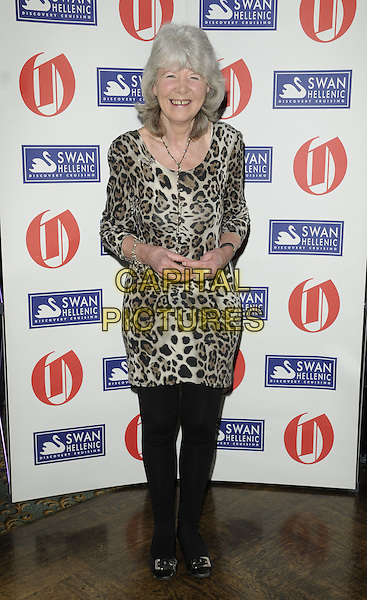 JILLY COOPER.The Oldie Of The Year Awards at Simpsons On The Strand, London, England..February 10th, 2011.full length beige black brown leopard gap teeth print dress finger injury wound necklace tights .CAP/CAN.©Can Nguyen/Capital Pictures.