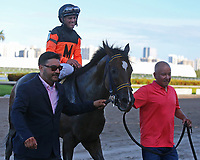 HALLANDALE BEACH, FL - JULY 01:  #2 Imperial Hint (FL)  wth jockey Javier Castellano enters the winner's circle after winning the Smile Sprint Handicap G3 Stakes at Gulfstream Park on July 01, 2017 in Hallandale Beach, Florida. (Photo by Liz Lamont/Eclipse Sportswire/Getty Images)