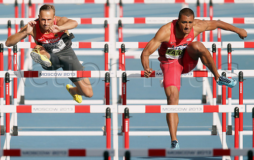 11.08.2013. Moscow, Russia.  Michael Schrader (l)of Germany competes next to Ashton Eaton from the US during the Decathlon 110 m Hurdles at the 14th IAAF World Championships in Athletics at Luzhniki Stadium