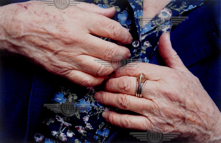 The hands of writer Doris Lessing, photographed at her home in Hampstead, London.