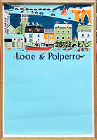 BNPS.co.uk (01202 558833)<br /> Pic: DavidLayFRICS/BNPS<br /> <br /> A sky blue poster promoting Looe & Polperro in Cornwall<br /> <br />  A wonderful collection of vintage British travel posters celebrating the golden age of the seaside getaway have emerged for sale for £15,000.<br /> <br /> The posters were produced by Great Western Railway and British Railways between the 1930s to the 1960s to encourage Brits to holiday on the Cornish coast.<br /> <br /> One striking Art Deco poster issued by Great Western Railway shows a lady in an orange swimsuit at Newquay with surfers in the background. <br /> <br /> It describes the popular holiday destination as 'Cornwall's first Atlantic resort'.<br /> <br /> The collection of about 30 posters has been put together by a private collector over the past two decades who is now selling them with auction house David Lay FRICS, of Penzance, Cornwall.