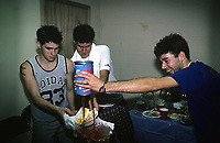 Beastie Boys trash a dressing room backstage at The Rosemont Horizion in Rosemiont, Illinois. <br /> July 31,1987 <br /> CAP/MPI/GA<br /> &copy;GA/MPI/Capital Pictures