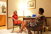 First Lady Michelle Obama and Dr. Jill Biden wait for the start of the Women's Leadership Forum Issues Conference at the Washington Hilton in Washington, D.C., Friday, May 7, 2010. .Mandatory Credit: Samantha Appleton - White House via CNP