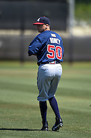 Atlanta Braves pitcher Brad Roney (50) warms up before a minor league spring training game against the Houston Astros on March 29, 2015 at the Osceola County Stadium Complex in Kissimmee, Florida.  (Mike Janes/Four Seam Images)