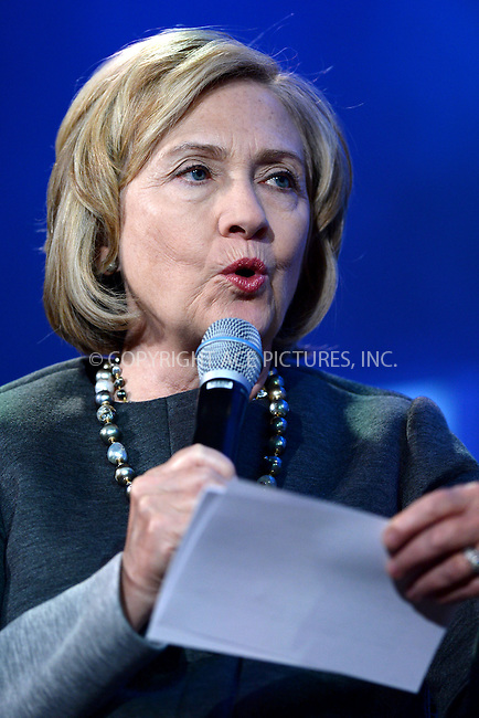 WWW.ACEPIXS.COM<br /> September 22, 2014 New York City<br /> <br /> Hillary Clinton during the Clinton Global Initiative on September 22, 2014 in New York City.<br /> <br /> <br /> By Line: Kristin Callahan/ACE Pictures<br /> ACE Pictures, Inc.<br /> tel: 646 769 0430<br /> Email: info@acepixs.com<br /> www.acepixs.com