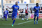 Ollie Palmer of Grimsby Town celebrates scoring the opening goal against Woking during the Vanamara Conference League match at the Kingfield Stadium, Woking, Surrey<br /> Picture by David Horn/eXtreme aperture photography +44 7545 970036<br /> 07/03/2015