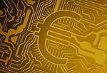 Yellow computer circuit board with euro symbol representing IT industry