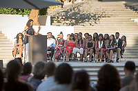 Regina Freer, Professor, Politics. Black Graduation Celebration at Academic Quad, May 20, 2017.<br /> Cultural Graduation Celebrations are an opportunity for smaller groups to come together and acknowledge students' accomplishments with family and friends while celebrating the rich diversity of our campus. The Office of Intercultural Affairs partners with cultural organizations to coordinate the events.<br /> (Photo by Marc Campos, Occidental College Photographer)