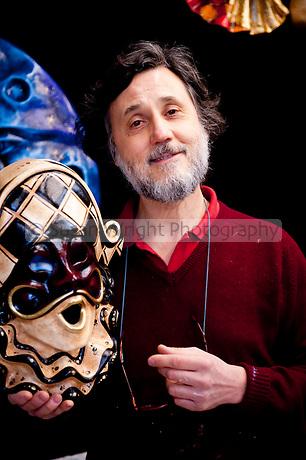 Mario Belloni, Venetian artisan mask maker in his workshop, Ca' Macana, Venice, Italy