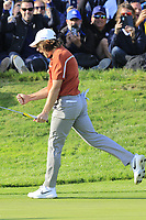 Tommy Fleetwood (Team Europe) sinks his putt on the 12th green during Saturday's Foursomes Matches at the 2018 Ryder Cup 2018, Le Golf National, Ile-de-France, France. 29/09/2018.<br /> Picture Eoin Clarke / Golffile.ie<br /> <br /> All photo usage must carry mandatory copyright credit (&copy; Golffile | Eoin Clarke)