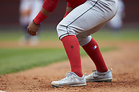 A close-up of the Nike cleats worn by Salem Red Sox shortstop Santiago Espinal (5) during the game against the Winston-Salem Dash at BB&T Ballpark on April 22, 2018 in Winston-Salem, North Carolina.  The Red Sox defeated the Dash 6-4 in 10 innings.  (Brian Westerholt/Four Seam Images)