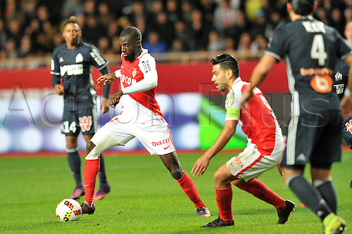 26.11.2016. Monaco, France. French League 1 football. Monaco versus Marseille.  14 TIEMOUE BAKAYOKO (asm) turns towards RADAMEL FALCAO (asm)