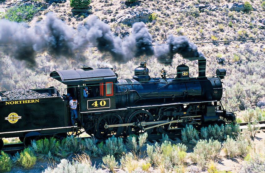 The Ghost Train, Nevada Northern Railway Museum (steam train), Robinson Canyon near Ely, Nevada USA