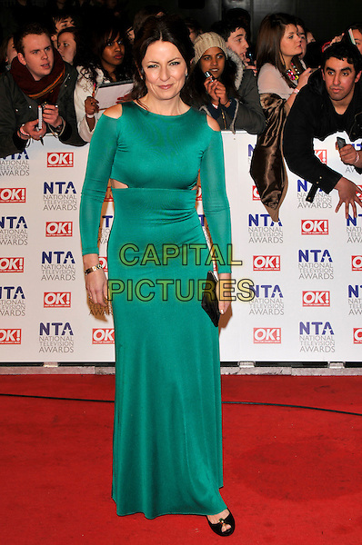 DAVINA McCALL .Attending the National Television Awards at O2 Arena, London, England..January 26th, 2011.arrivals NTA NTAs full length green cut out dress away shoulders side long sleeve maxi black peep toe shoes clutch bag .CAP/PL.©Phil Loftus/Capital Pictures.