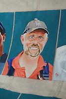 CULTUUR: GOINGARIJP: 04-05-2015, Fok SKS Skûtsjes en portretten van de schippers geschilderd door oud skûtsjeschipper Anne Tjerkstra, Pieter Brouwer, ©foto Martin de Jong